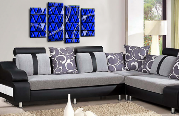 Abstract Split Wall Art Blue Grey Black Canvas Picture Print